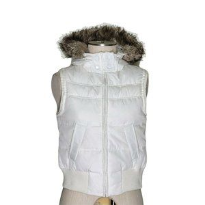 Aeropostale Quilted Down Puffer Fur Hooded Vest